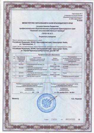 Лицензия ГБПОУ КК АСТ